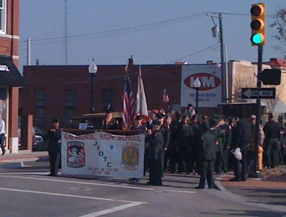 The Memorial High School J-ROTC marched in today's parade.