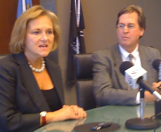 Mayor Kathy Taylor and Mayor-Elect Dewey Bartlett hold a joint news conference at city hall.
