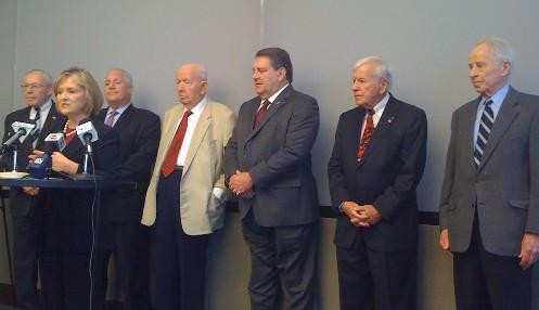 Tulsa's Mayors Past-and-Present: (L-R)Rodger Randall, Kathy Taylor,Bill LaFortune, James Hewgleym Terry Young, Dick Crawford, Bob LaFortune. (Not pictured: Jim Inhofe and Susan Savage)