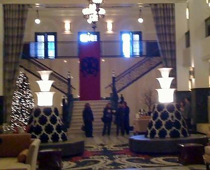 The Grand Staircase at the renovated Mayo Hotel in Tulsa.