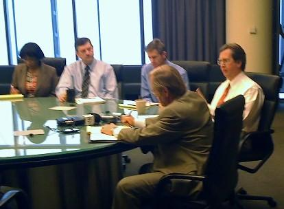 Mayor Bartlett meets with his management team in the 15th floor conference room at City Hall.