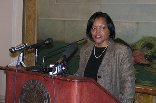 Constance Johnson at her news conference at the state capitol