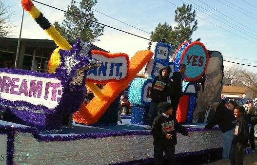 One of the many colorful floats in today's MLK Parade in Tulsa.