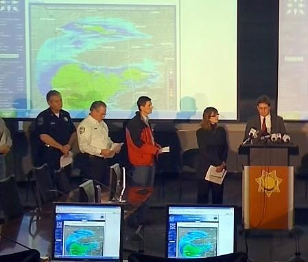 Mayor Bartlett and other leaders give briefing after EOC is activated.