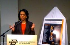Condoleezza Rice talking to reporters in the Mabee Center green room.
