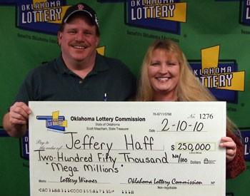 Jeff Haff and his fianc?e pick-up his check from the Lottery Commission in Oklahoma City.