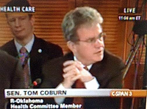 Oklahoma Senator Tom Coburn takes part in health care summit.