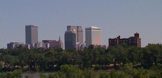 The Tulsa skyline from the Riverparks Festival area.
