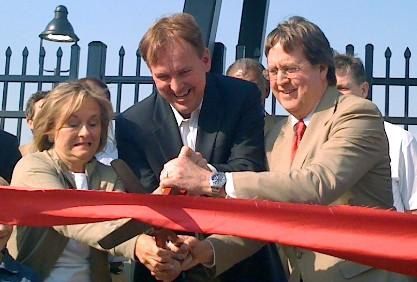 Former Mayor Taylor, Drillers Owner Chuck Lamson and Mayor Bartlett cut the ribbon on Tulsa's new ONEOK Field.