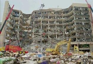 The Oklahoma City Murrah Building after the 1995 bombing.