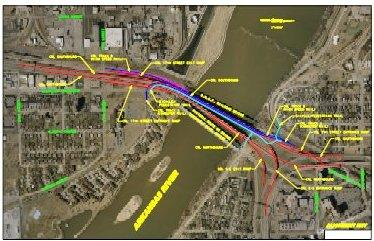 Map shows proposed new bridge alignment.