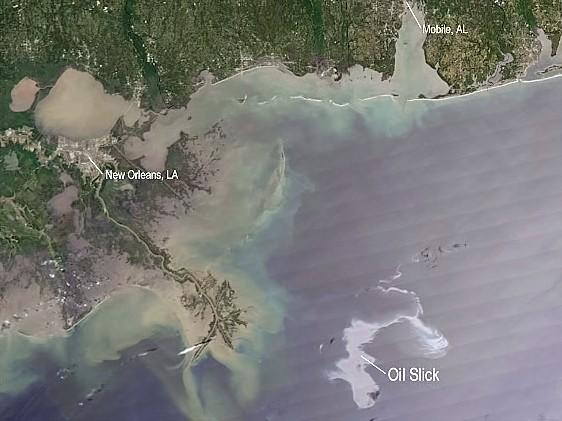 Oil spill from space.