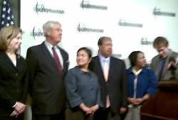 Civil rights and Hispanic leaders gather for a news conference at the Press Club.