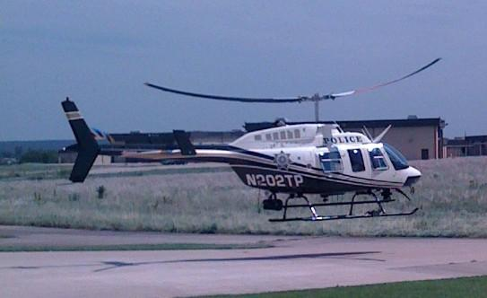 The Tulsa Police Helicopter lifts off from its north Tulsa Heliport.