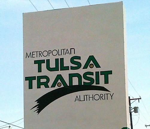 Sign in front of Tulsa Transit Headquarters in Tulsa.