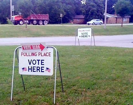 Signs mark the polling place at Forest Park Christian Church at 91st and Mingo in Tulsa.