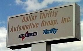 The sign in front of Dollar-Thrifty Headquarters in Tulsa.
