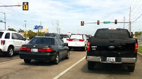 Traffic is heavy Saturday in Tulsa along 71st Street.