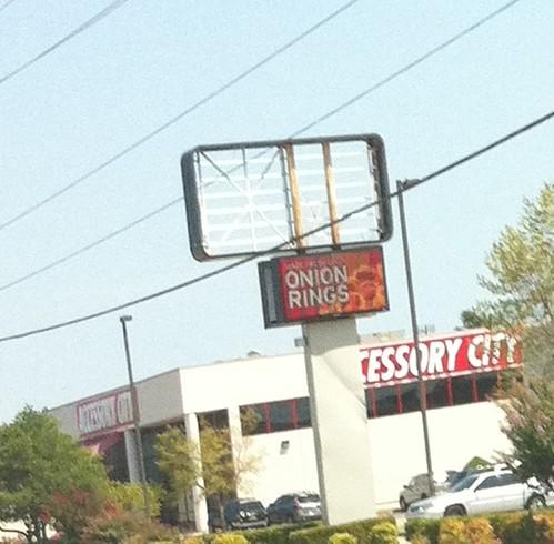 The Sonic on 71st lost a portion of its sign.