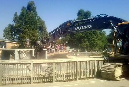 demolition on the old Sea Lion exhibit is underway at the Tulsa Zoo.
