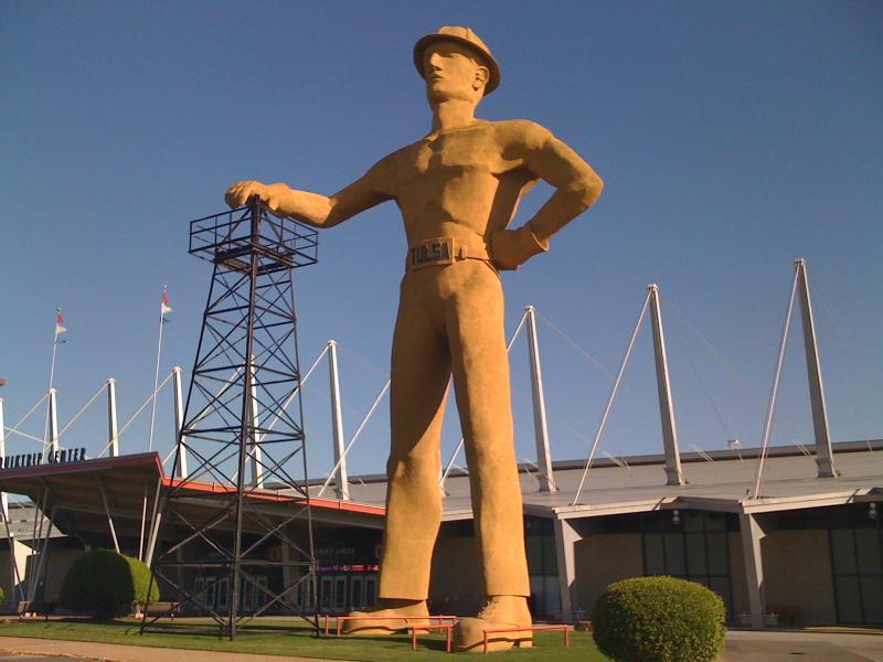 The Golden Driller on the Tulsa Fairgrounds