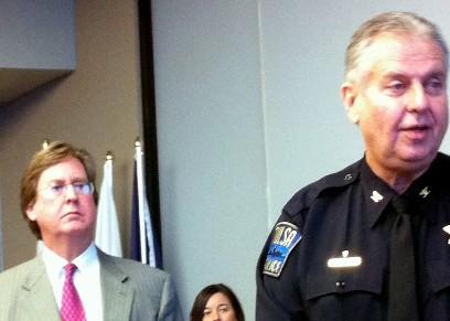 Mayor Bartlett stands behind Tulsa's new Police Chief, Chuck Jordan.