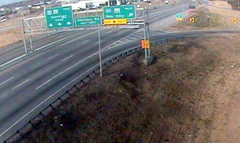 The O-Dot Traffic Camera shows little traffic on the BA at I-44 following crash