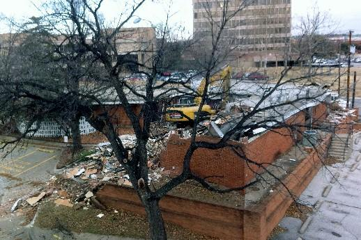 Demolition begins on old building to make way for new entry to OSU Med Center.
