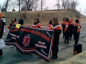 The Washington High entry prepares to the Tulsa parade.