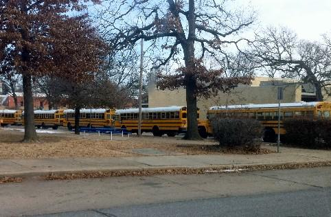 School buses line up to evacuate students from Webster during a disaster drill.