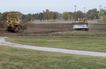 Heavy equipment works on ball fields at O'Brien Park at 66th Street and North Lewis.