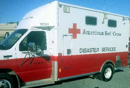 One of the Tulsa Red Cross vans head to Dixie.