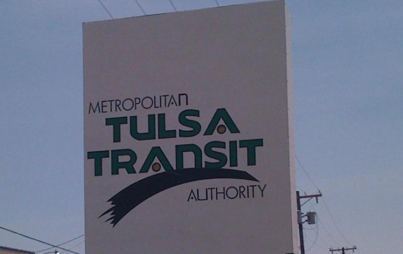 The sign outside of Tulsa Transits headquarters at 5th and Rockford.