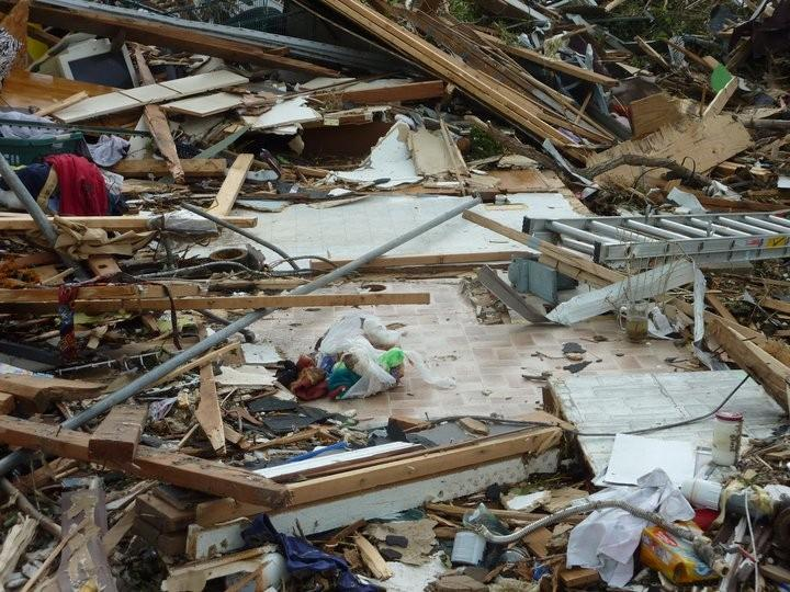 Only the bathroom floor is left of this Joplin home