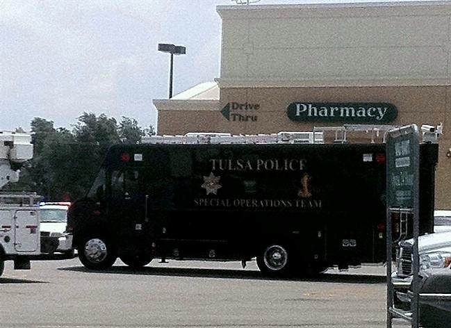 Tulsa Police Special Operations Team command post on the Wal-Mart parking lot.