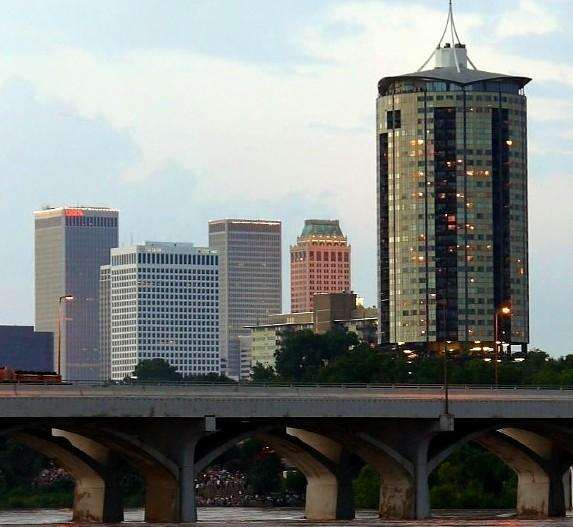 University Club Tower in downtown Tulsa. (building at right)