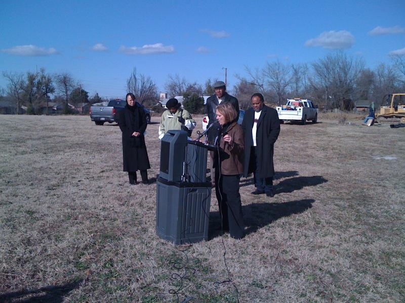 Then Mayor Kathy Taylor takes part in a ground breaking for the Shoppes on Peoria in early December of 2009.