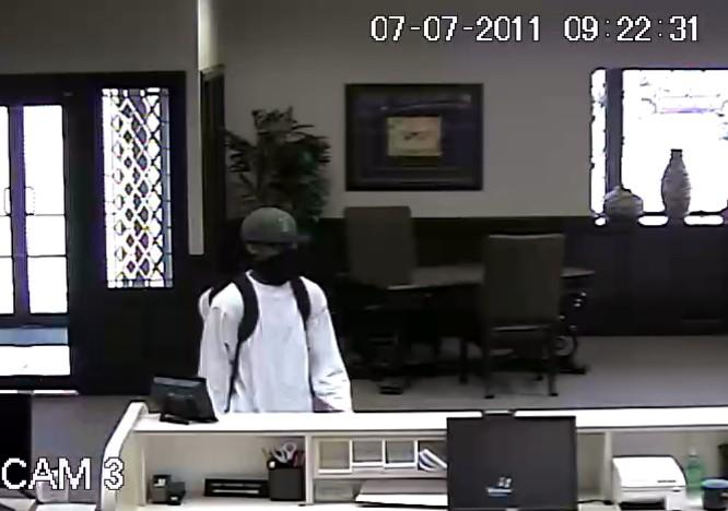Security camera view of bank robbery