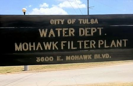 The sign in front of the Mohawk Water Treatment Plant in north Tulsa
