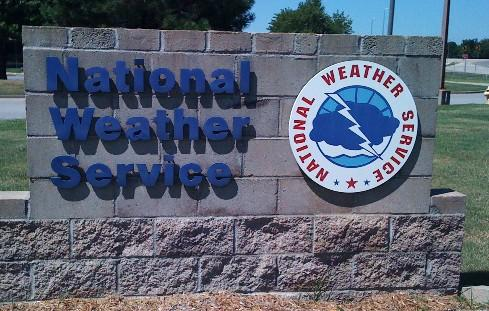The sign in front of the National Weather Service Office on 11th Street near Highway 169.