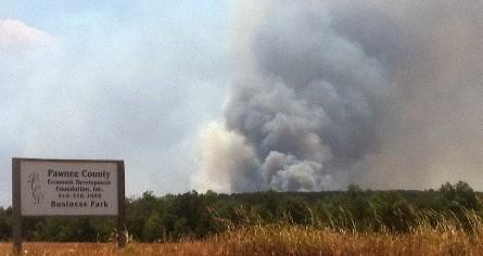 Wild fire burns near Terlton