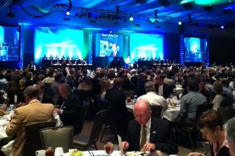 Hundreds crowd into the Convention Center Ballroom for the State of the City address