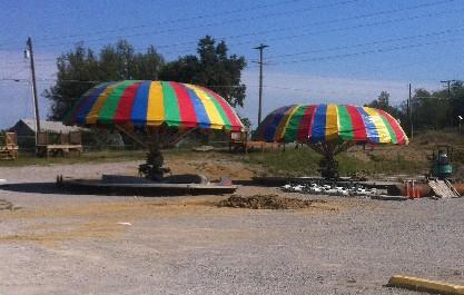 Rides are being set-up at the new Bell's location in far West Tulsa.