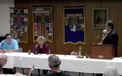 Phillip Oyler and Jeannie Cue discuss the issues with KWGS' John Durkee at the 1st United Methodist Church in downtown Tulsa, hosted by the Downtown Tulsa Kiwanis Club.