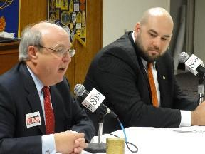 Candidates Ken Brune and Blake Ewing discuss the issues in a Studio Tulsa debate before the Tulsa Kiwanis Club.