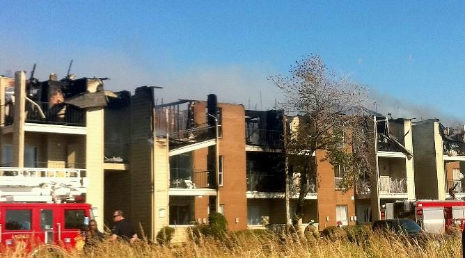 The fire damaged Windsail apartments