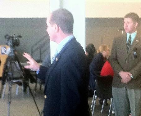 Congressman Sullivan talks with reporters
