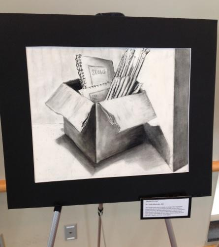Dr. Julia Edwards was the only one of the nine to have had art experience before. This was her drawing responding to the assignment to draw something you had to hide during medical school.
