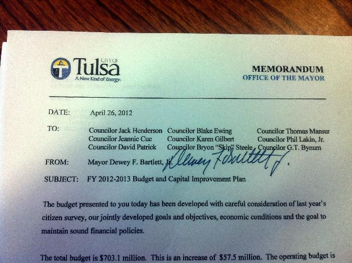 The mayor's budget letter to the council