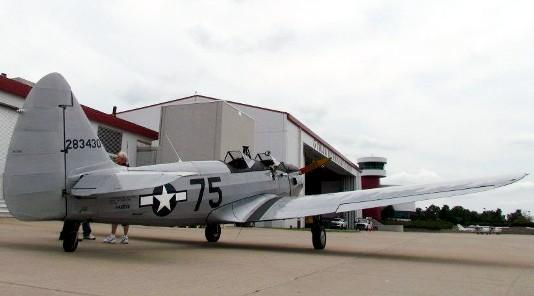 A restored P-19 at the Jones Riverside Airport